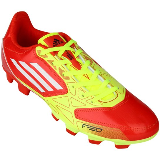 Chuteira Adidas F5 TRX FG - Vermelho+Amarelo ... b6849651cd329