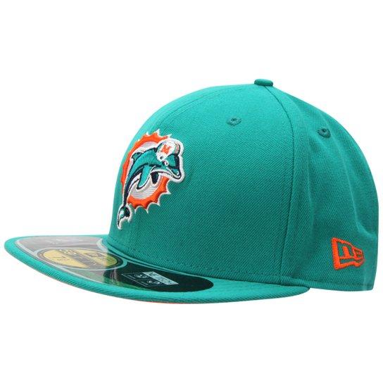 783a5f2f6df38 Boné New Era NFL 5950 Evergreen Miami Dolphins - Verde água ...