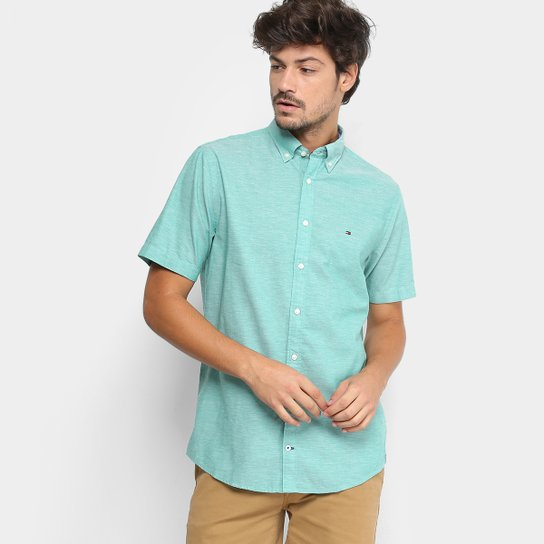 35f0cee16e Camisa Manga Curta Tommy Hilfiger Fio A Fio Regular Fit Masculina - Verde