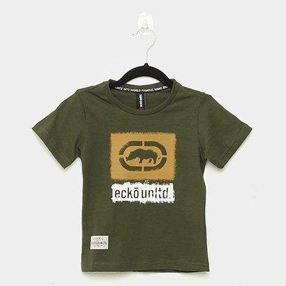 Camiseta Infantil Ecko Logo Manga Curta Masculina