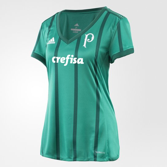 5a29f46f57 Camisa Palmeiras I 17 18 s nº - Torcedor Adidas Feminina - Verde ...