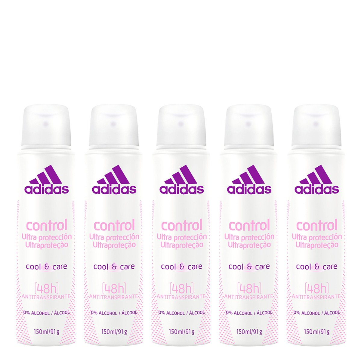 Kit 5 Desodorantes Aerosol Adidas Feminino Cool & Care Control 150ml