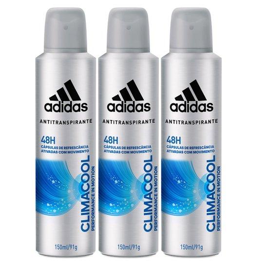 fab1757eb Kit Desodorante Adidas Climacool Aerosol Masculino 150ml 3 Unidades -  Incolor