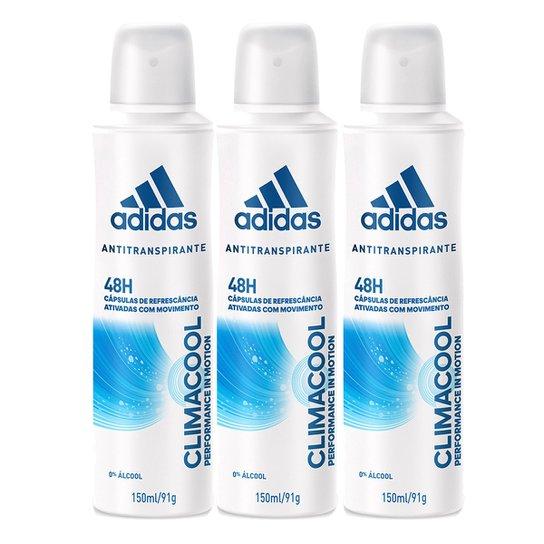 156c43870 Kit Desodorante Adidas Climacool Aerosol Feminino 150ml 3 Unidades - Incolor