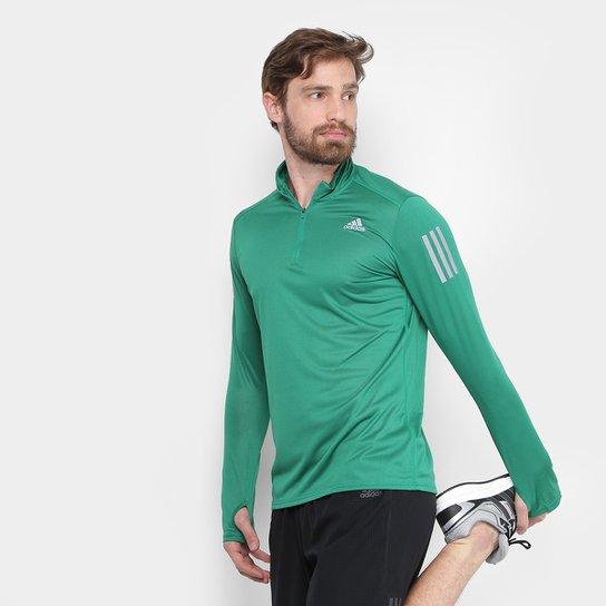 Camiseta Adidas Manga Longa Rs Ls Zip Masculina - Verde - Compre ... d12937336417b