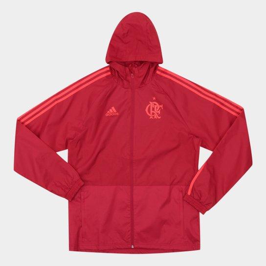 Jaqueta de Chuva Flamengo C  Capuz Adidas Masculina - Vermelho ... df7587e90f126