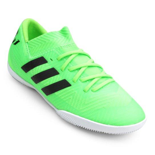 22f96ac0df6a8 Chuteira Futsal Infantil Adidas Nemeziz Messi 18 3 IN - Verde e Preto