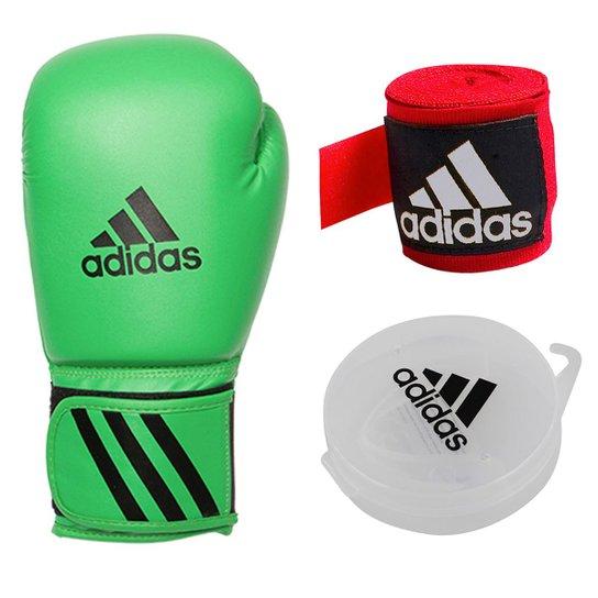 ce883887f Kit Luva de Boxe Adidas Speed 50 + Bandagem + Protetor bucal - Verde