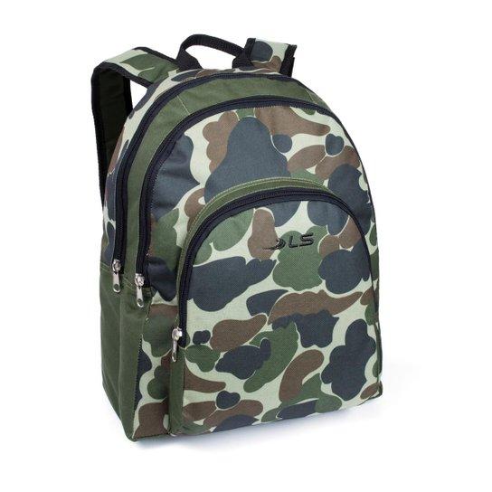 Mochila LS Bolsas camuflada com divisão frontal e bolso frontal - Verde 86f3309c90e