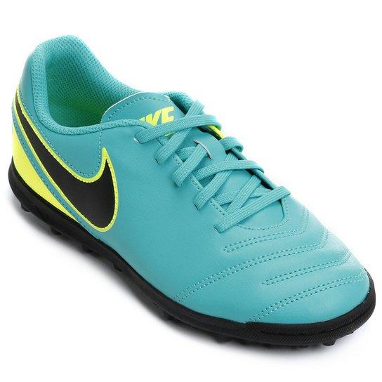 71a9e30fc6 Chuteira Society Infantil Nike Tiempo Rio 3 TF - Azul Piscina+Verde Limão