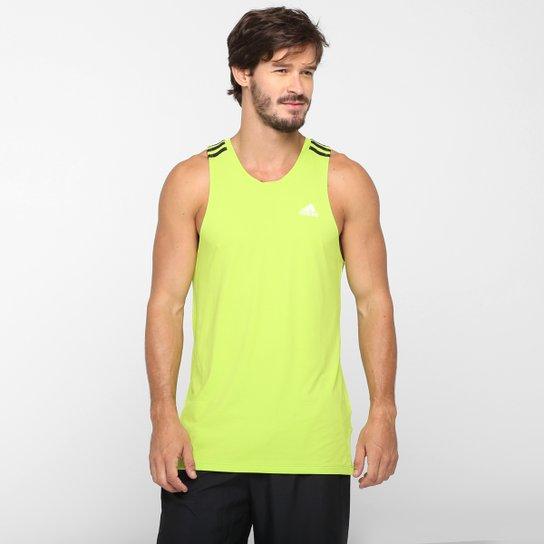 2548dc86306 Camiseta Regata Adidas 3S com Proteção Solar UPF 50 - Verde Limão+Preto