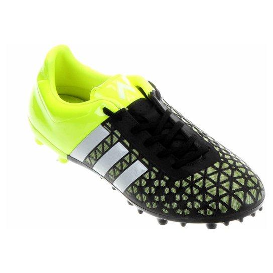 Chuteira Adidas Ace 15 3 FG Campo - Verde Limão+Preto 70df5e28bb984