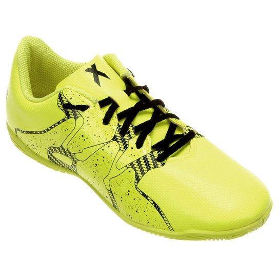 Chuteira Futsal Juvenil Adidas X 15.4 IN - Verde Limão - Compre ... 5cc0adfaa2ee2