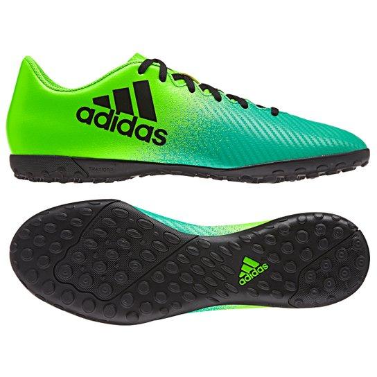 3cb84f7966 Chuteira Society Adidas X 16 4 TF - Verde+Preto