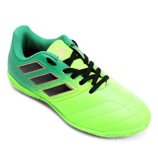 c324d20f647df Chuteira Futsal Juvenil Adidas Ace 17.4 IN - Verde+Preto