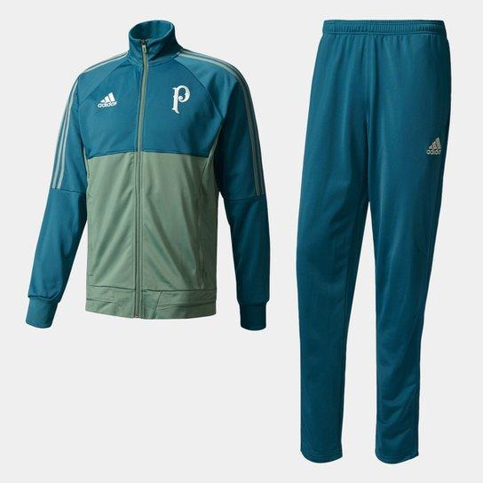 Agasalho Palmeiras Adidas Viagem 17 18 Masculino - Azul Piscina+Verde f8daeb800be31