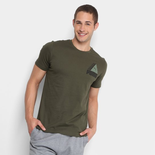 Camiseta Puma TRI Retro Masculina - Verde - Compre Agora  1713d9b8a3ce1