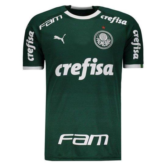 758617223 Camisa Puma Palmeiras I 2019 Com Patrocínio Masculina - Verde ...