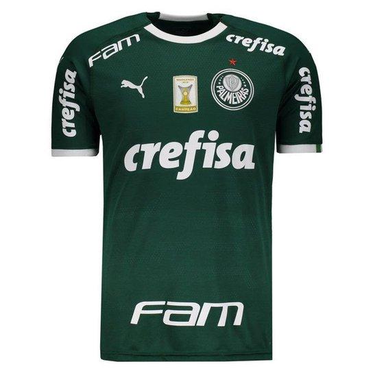73b86950ed784 Camisa Puma Palmeiras I 2019 Com Patch Masculina - Verde   Netshoes