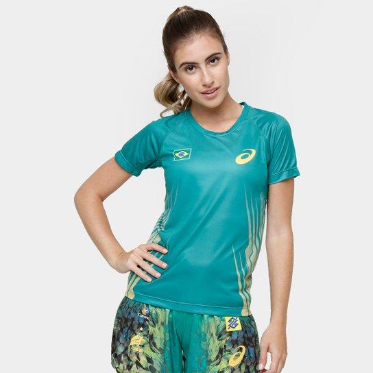 13c07d4bc0 Camiseta Asics Brasil de Jogo Handebol Feminina - Compre Agora ...