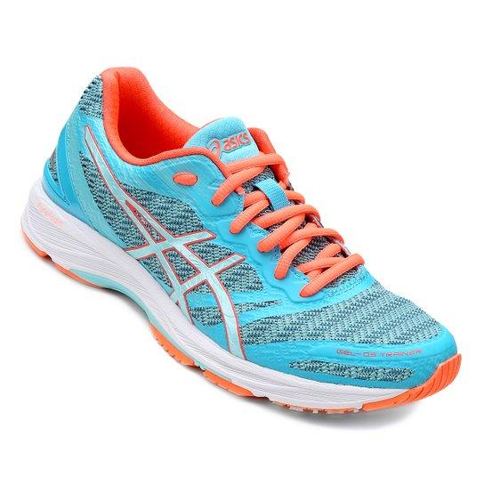 Tênis Asics Gel DS Trainer 22 Feminino - Azul Claro e Laranja ... bbbd4cf06c54b