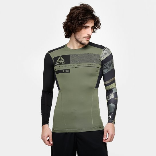 21d5112f675df Camiseta de Compressão Reebok OS ActivChill Manga Longa Masculina - Verde  Militar+Preto