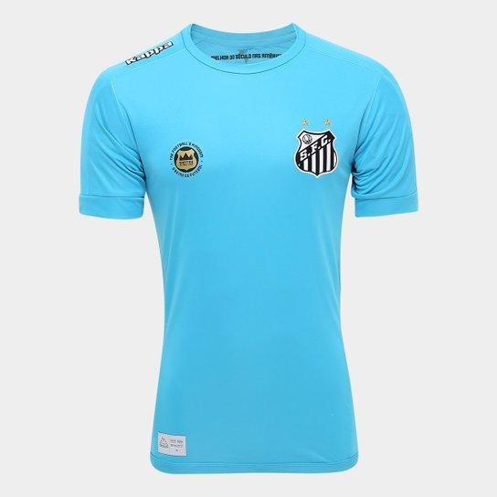 Camisa Goleiro II Santos 17 18 s nº Torcedor Kappa Masculina - Azul e305bb2561fcf