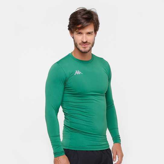 9ed4b86cddad2 Camiseta Kappa Térmica Grip Manga Longa Masculina - Verde