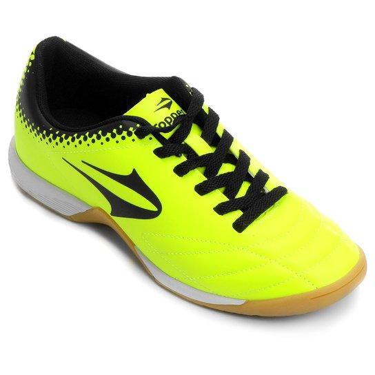 539829dd8c654 Chuteira Topper Sprint Futsal - Verde Limão+Preto
