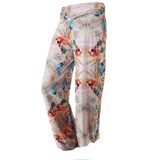 5a5eb5b52 Calça Pantalona Saida de Praia Arara Mormaii Feminina - Laranja+Verde