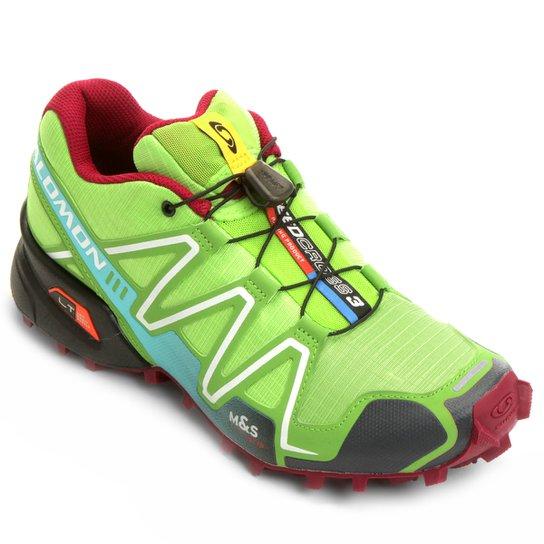 aca7aaa7b78 Tênis Salomon Speedcross 3 Feminino - Verde Claro e Vermelho ...