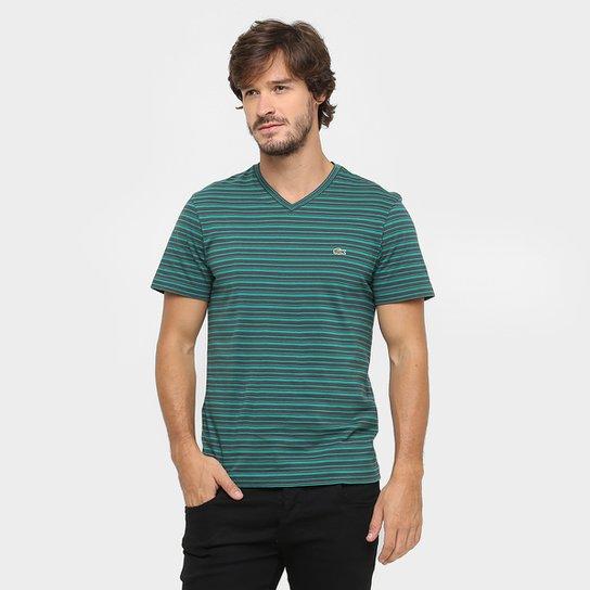 11df70c772 Camiseta Lacoste Gola V Listrada - Compre Agora