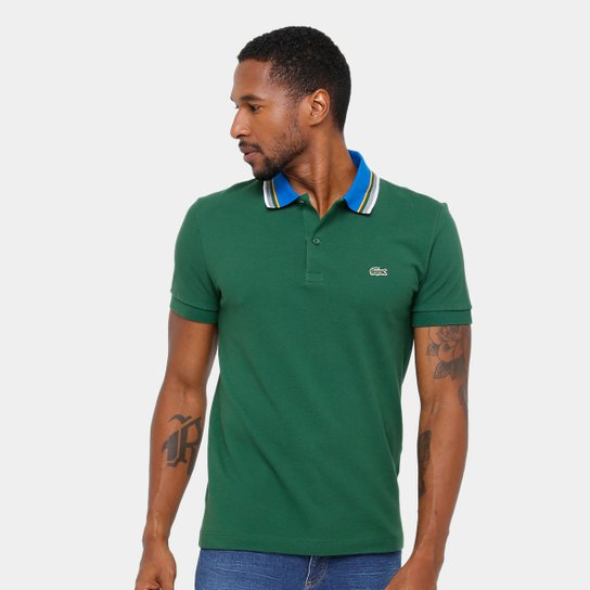 49822cc1f8f0a Camisa Polo Lacoste Piquet Regular Fit Gola Color Masculina - Compre ...