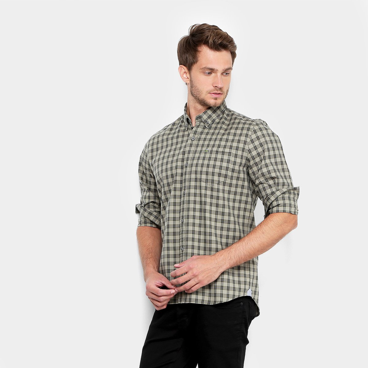 Camisa Lacoste Xadrez Regular Fit Bolso Masculina   Opte+ 4731681480