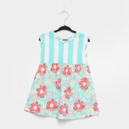 Vestido Infantil Bee Loop Listras Flores