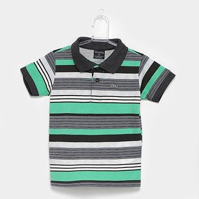 Camisa Polo Infantil Quimby Estampa Listrada Feminina