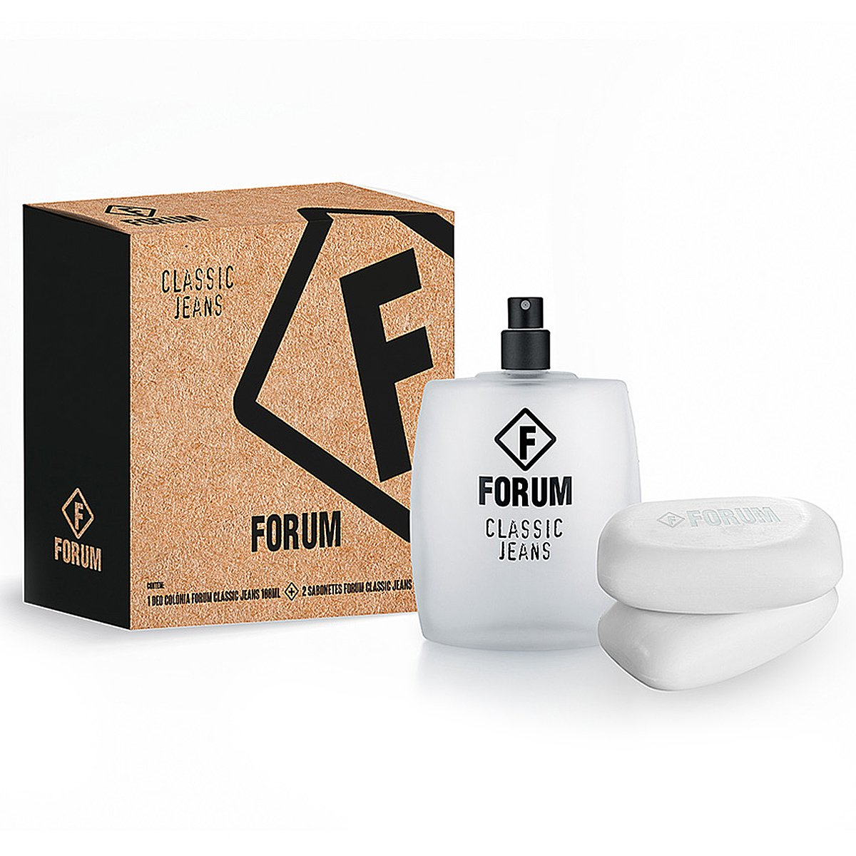 Forum Kit Jeans Unissex Deo Colônia 100ml + 2 Sabonetes 90g