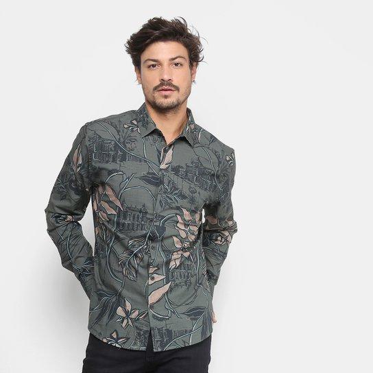 Camisa Forum Manga Longa Estampada Masculina - Verde - Compre Agora ... 637a55a47c94f