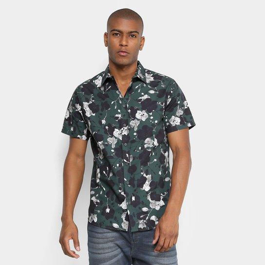 38335ae88 Camisa Manga Curta Forum Slim Fit Floral Masculina - Verde+Preto