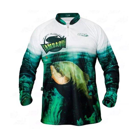 8f88cfd04813d2 Camiseta de Pesca Jogá Tambaqui Masculina - Verde e Preto