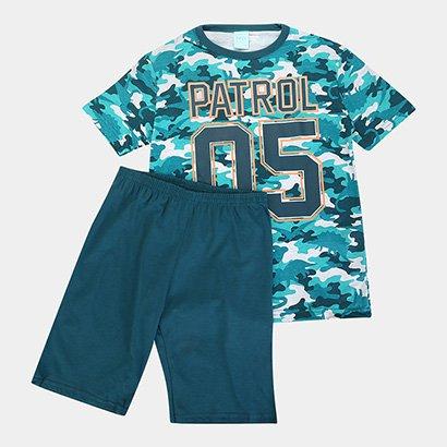 Pijama Infantil Kyly Camuflado Brilha No Escuro Masculino