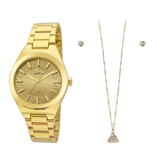14863abe0db Kit Relógio Allora Feminino Espelhados Geométricos Al2035fhm K4d - Incolor