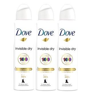 Kit Desodorante Antitranspirante Dove Invisible Dry Aerosol 150ml com 3  unidades 8277bafeab