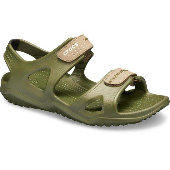 b8158ead77 Sandália Crocs Swiftwater River Sandal Masculina - Verde - Compre ...