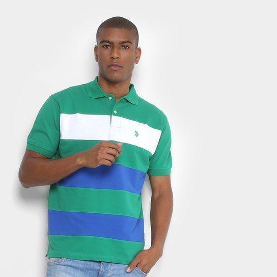 Camisa Polo U.S. Polo Assn Piquet Listrada Masculina - Verde ... 78c7f0913b71a