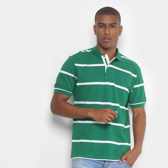 Camisa Polo U.S. Polo Assn Piquet Fio Tinto Bordado Masculina - Verde aa8c9215e3d22