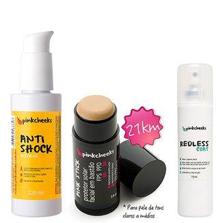 4855933a0 Kit Pinkcheeks Anti Shock Leave-in 120ml + Filtro Solar Facial Pink Stick  21 KM