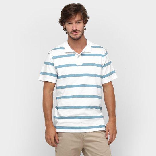 6b5bc109bd Camisa Polo Colombo Listrada Fio Tinto - Branco+Azul Petróleo