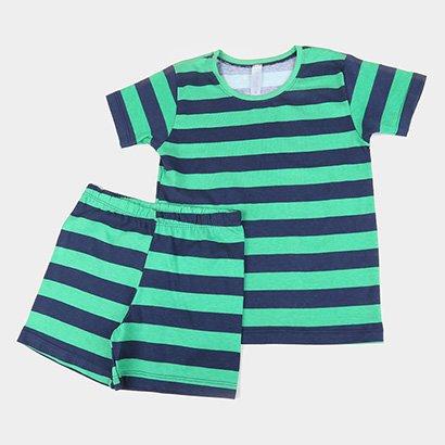 Pijama Infantil Libertá Meia Malha Listrado Menino