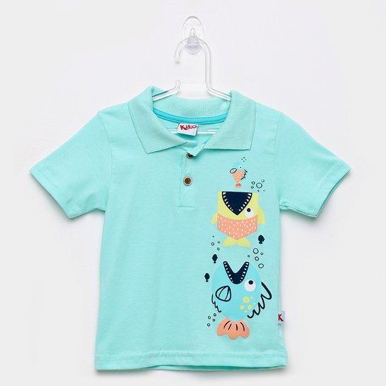 ed5acc891734a4 Camisa Polo Infantil Kiko & Kika Meia Malha Tubarão Masculina - Verde